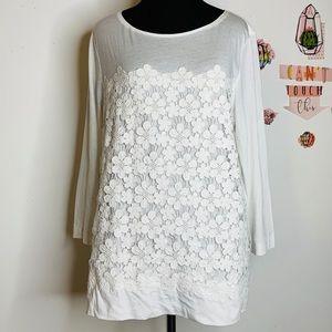 J.Crew Shirt Flower Embroyded White